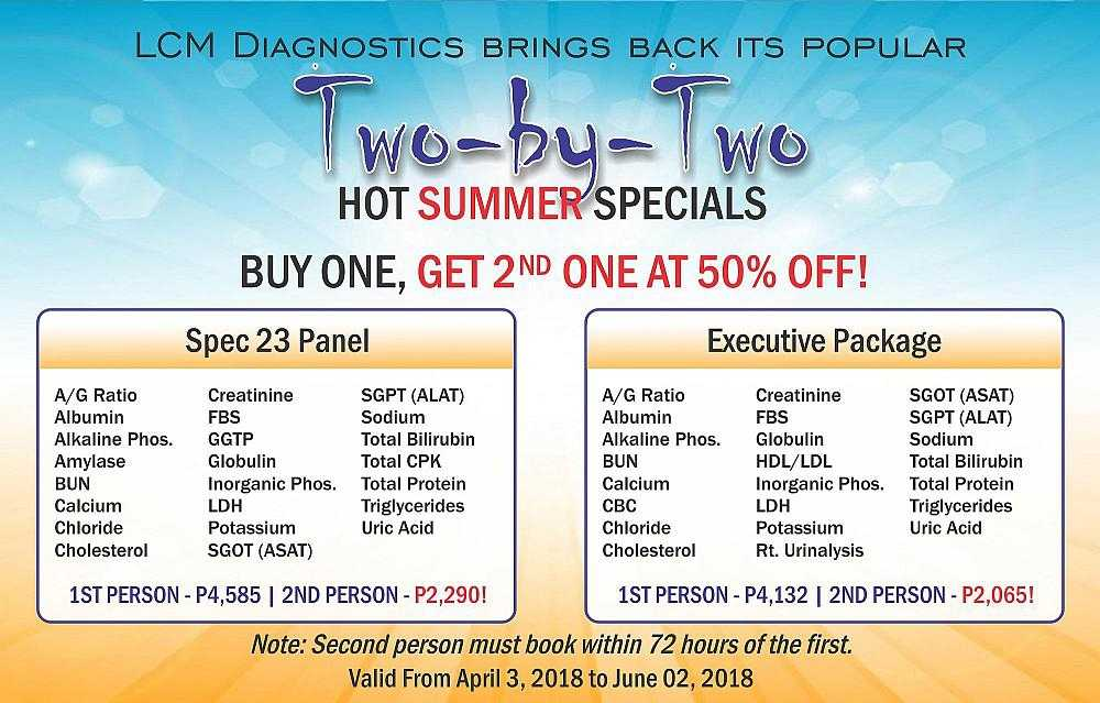 LCM Diagnostics - Two-by-Two Hot Summer Specials. Buy one get 2nd one at 50% off!